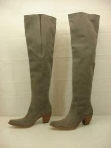 Women's 9 B M Elizabeth and James Rally Gray Suede OTK Boots Over The Knee Thigh