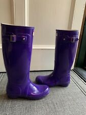 Hunter Women's Original Tall Rain Boots W23616  Purple Gloss  US6M/7