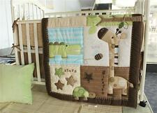 Baby Bedding Set GIRAFFE Nursery Bumper+ Crib Quilt+ Fitted Sheet 3PCS