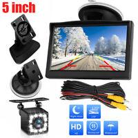 """5"""" TFT LCD Monitor&Wired Car Backup Camera RearView System W/ Night Vision 12LED"""