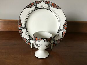 Crown Ducal Orange Tree Egg Cup and Tea Plate