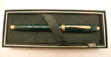 CROSS TOWNSEND MARBLE GREEN LACQUER & GOLD ROLLERBALL PEN NEW I BX USA MADE  615