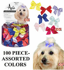 """100pc Multi Color SATIN RIBBON 5/8""""Wide DOG HAIR BOWS w/Elastic Groomer Grooming"""