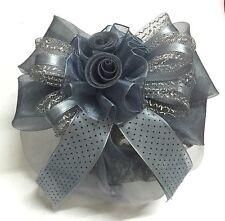 Beautiful Rose Grey Black Dot Bow Ribbon Hair Clip Snood Net Bun Cover Ballet