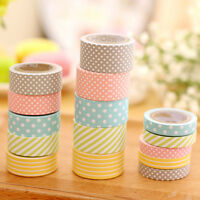 5 ROLLS COLORFUL WASHI TAPE DECORATIVE STICKY PAPER MASKING TAPE ADHESIVE-COMELY