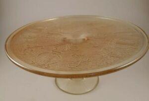 Antique Harp Design Marigold Carnival Glass Legged Special Occasion Cake Plate