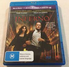 Inferno (2016) - 2-Disc Limited Ed. Blu-Ray Region B/C | Like-New | Tom Hanks
