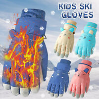 UK Winter Gloves For Kid Boys Girls Snow Windproof Mittens Outdoor Sports Skiing