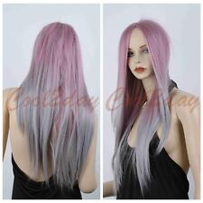 Women Long Straight Wig Lolita Ombre Pink Silver Cosplay Wig Natural Looking Wig