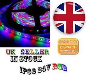 IP68 RGB LED Strip Light, 5MT 5050 24V MORE POWERFULL UK STOCK