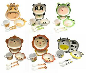 Children Baby 100% Bamboo Fiber Cartoon Animal Dinner Meal Bowl Plate Set UK