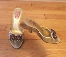 Size 5 1/2 HALE BOB Gold Glitter Dressy High Heel Mules With Front Bow