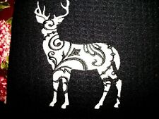 DEER FLORAL DESIGN  DISH DRYING MAT, EMBROIDERED
