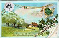 Raphael Tuck May Birth month Gemini Hawthorn Emerald Embossed 1910 Postcard