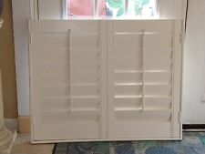 """Solid Wood Interior Plantation Shutters_White_36 1/2"""" W x 29"""" L_ 3 1/2""""Louvers"""