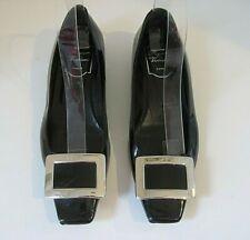 ROGER VIVIER Black Patent Leather Silver Buckle Flats Shoes Size 37 1/2