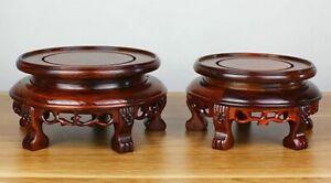 Natural Rosewood Legged Fishbowl Stand Bonsai Ceramic Vase Rack Base Decor