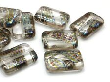 12 Böhmische Glasperlen 15mm Rechteck Crystal Klar Rainbow Perlen Quader #1704
