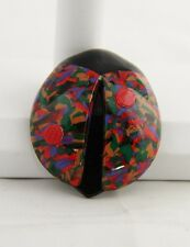 90's VINTAGE Jewelry LEA STEIN SIGNED Book Pc COLORFUL LADYBUG BROOCH - ESTATE