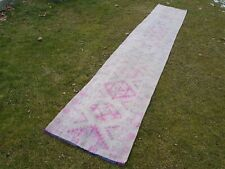 1960s Vintage Turkish Oushak Runner Rug - Pale Muted Pink Color 2'5'' X 14'5''