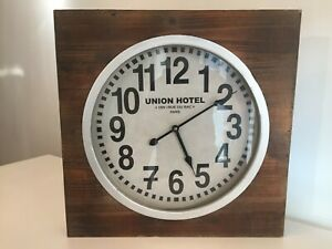 """Large Wooden Metal Wall Clock """"PARIS UNION HOTEL"""" Rustic Style"""