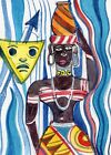 ACEO Original Modern Art Card African Black Women Maid 100% Hand Painting Gifts