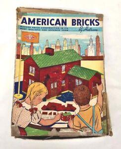 1939-40 Wood AMERICAN BRICKS by HALSAM 200 PIECES Original Box