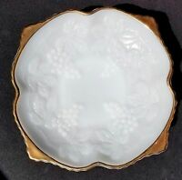 Anchor Hocking White Milk Glass Bowl Gold Trim Pedestal Serving Dish Candy Bowl