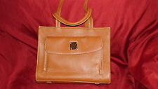 "Dooney & Bourke Pebble Leather Caramel Satchel Tote ""Janine"" with Front Pocket"