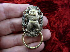 (E-577) Panda bear lover Eyeglass filigree brass pin pendant ID badge holder