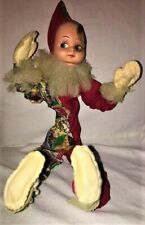 """VINTAGE 1950 Poseable Jester Clown Molded Elf Pixie Face Bendable Body DOLL 23"""""""