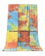 Indian Tie Dye Kantha Queen Quilt Hand Stitched Gudari Bohemian Hippie Bedspread