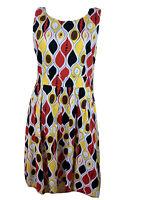 Leoni Size 12 Atomic Print Fit & Flare Dress Red White Yellow Black Cotton Elast