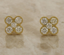 Diamond Cluster pendientes con Pasador de Oro Amarillo 18ct de 1.0 quilates