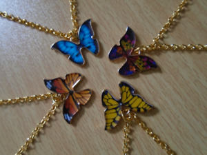 Necklace Gold Colour Chain Butterfly Colourful Pendant Classic Cute Gift Bag