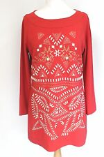 Alice Temperley Tomato Red Embellished Beaded Tunic Dress 12