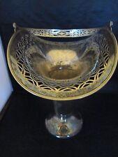 Silver Deposit on Nickel Sliver Flower Bouquet Basket with Handle