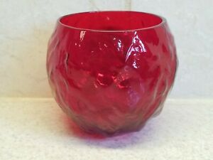 """Scarce Seneca Glass Driftwood Casual 12 oz Roly Poly Glass Red 3 3/8"""" Excellent"""