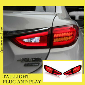 For Mazda 6 Atenza LED Taillights Assembly 2014-2017 Dark/Red LED Rear Lamps