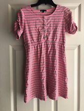 GIRL'S GAP KIDS Pink & Grey Striped DRESS~SIZE Large 10 Short Sleeved Buttons