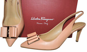 Salvatore Ferragamo Zahir Beige Leather Bow Slingbacks Low Heel Shoe 9.5 - 39.5