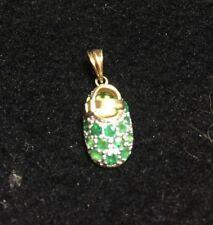 14K Yellow Gold Samuel Benham BJC 3D Emerald Cluster Baby Bootie Shoe Pendant