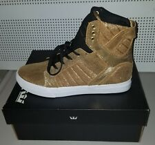 Supra Skytop kids Gold Leather High Top Lace Up Sneakers Shoes - Size 6y