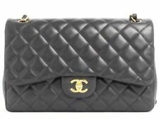 CHANEL CLASSIC BLACK LAMBSKIN JUMBO DOUBLE FLAP BAG GOLD GHW w/Authenticity Cert