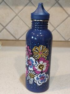 Vera Bradley 25 oz. Water Bottle African Violet Stainless Steel Purple Blue EUC