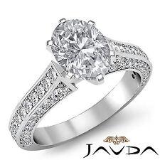 Clásico Forma Ovalada Diamante Pavé Anillo de Compromiso GIA i VS2 Pureza