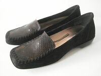 ENZO ANGIOLINI BLACK SUEDE & BROWN BLACK SNAKE LEATHER LOAFER SHOE 5.5M BRAZIL