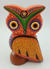 Mexican Alebrije Owl Wood Carving Handcrafted Hand Painted Signed Sculpture