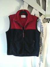 CLUB PETITES Active Sport Red Navy Blue Polo Fleece Zip Front 2 Pockets M 12 14