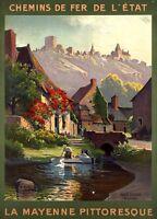 "Vintage Illustrated Travel Poster CANVAS PRINT France Mayenne  16""X12"""